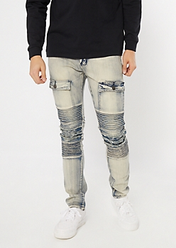 Supreme Flex Acid Wash Button Moto Skinny Jeans