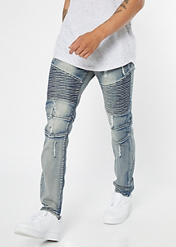 Medium Wash Zippered Ripped Skinny Moto Jeans