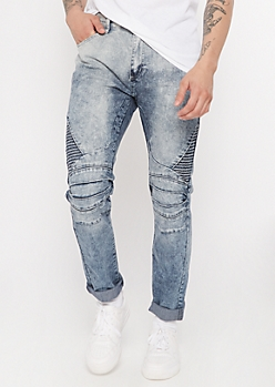 Medium Wash Moto Skinny Jeans