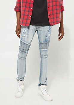 Flex Light Wash Bleached Moto Skinny Jeans