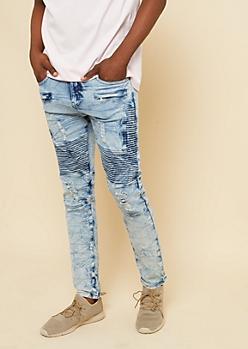 Flex Medium Marbled Acid Wash Zipper Skinny Moto Jeans