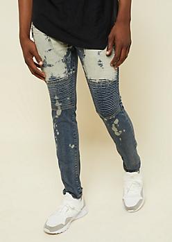 Dark Wash Bleach Splatter Zipper Thigh Skinny Moto Jeans