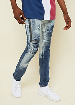 Dark Wash Bleached Zipper Thigh Skinny Moto Jeans