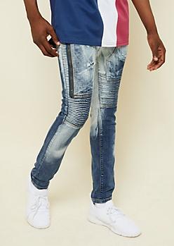 54dec5c7c643ea Dark Wash Bleached Zipper Thigh Skinny Moto Jeans