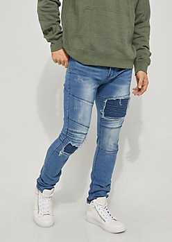 Distressed Moto Patched Skinny Jeans
