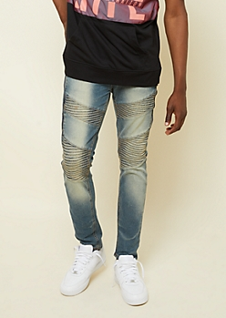 Medium Wash Zipper Diagonal Moto Skinny Jeans