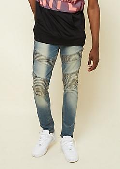 3bb4409c20adbb Medium Wash Zipper Diagonal Moto Skinny Jeans