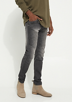 Black Zipped & Nicked Moto Skinny Jeans
