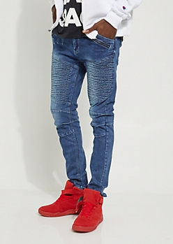 Zipped & Nicked Moto Skinny Jeans
