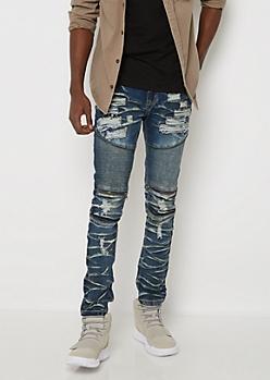 Flex Distressed Moto Zipped Skinny Jeans