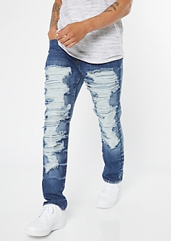 Supreme Flex Medium Wash Ripped Slim Jeans