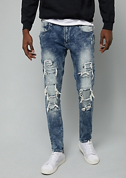Flex Medium Wash Ripped Side Zip Skinny Jeans