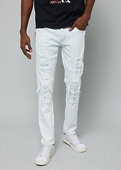Flex Light Wash Ripped Side Zip Skinny Jeans
