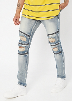 Supreme Flex Medium Wash Zippered Moto Skinny Jeans
