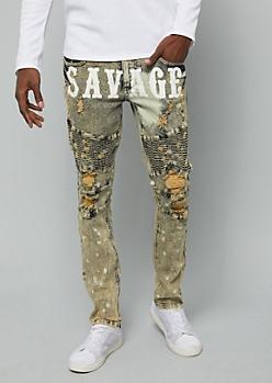 Flex Dark Bleach Wash Savage Moto Skinny Jeans