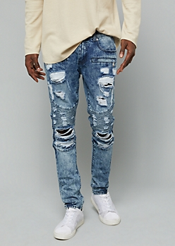 Flex Medium Acid Wash Ripped Zip Moto Skinny Jeans