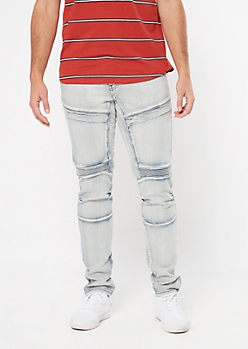 Supreme Flex Light Acid Wash Moto Flap Skinny Jeans