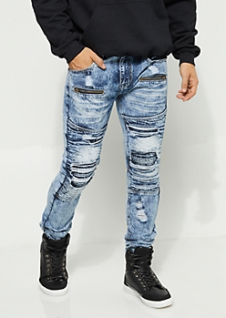 Flex Acid Wash Skinny Fit Distressed Jeans