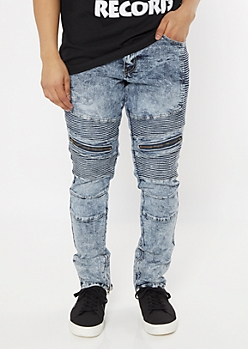 Medium Acid Wash Zippered Skinny Moto Jeans