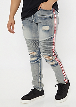 Light Wash Side Striped Distressed Skinny Moto Jeans