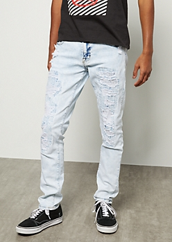 Flex Light Acid Wash Patched Distressed Skinny Jeans