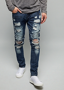 Flex Dark Stonewash Moto Destroyed Skinny Jeans