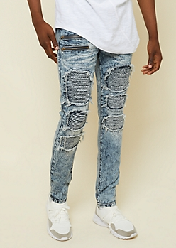 Flex Medium Acid Wash Frayed Moto Skinny Jeans
