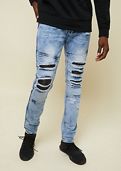 Flex Light Wash Faux Leather Moto Skinny Jeans