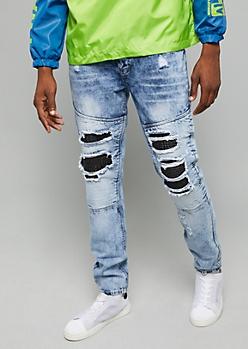 Flex Medium Wash Faux Leather Moto Skinny Jeans