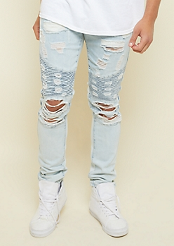 Flex Light Wash Ripped Skinny Moto Jeans