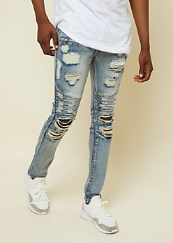 Flex Medium Wash Ripped Skinny Moto Jeans
