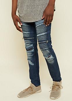 Flex Dark Wash Frayed Skinny Moto Jeans
