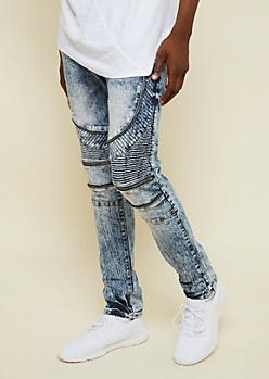 Flex Medium Acid Wash Zippered Skinny Moto Jeans