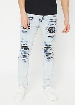 Supreme Flex Bleached Bandana Moto Skinny Jeans
