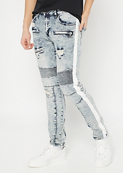 Supreme Flex Acid Wash Moto Side Striped Skinny Jeans