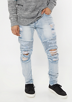 Light Wash Ripped Knee Skinny Moto Jeans