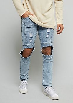 Flex Light Acid Wash Blown Out Knee Skinny Jeans