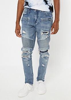 Supreme Flex Medium Wash Ripped And Repaired Moto Skinny Jeans