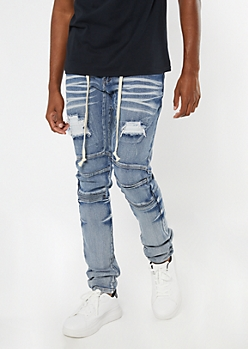 Supreme Flex Medium Wash Belted Stacked Skinny Jeans