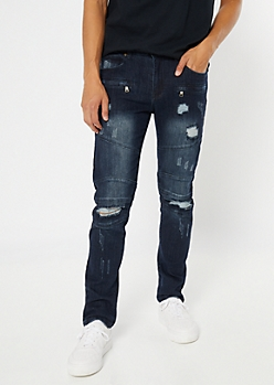 Supreme Flex Dark Wash Moto Distressed Skinny Jeans