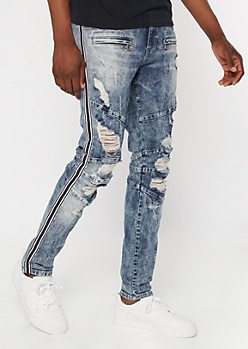 Supreme Flex Acid Wash Striped Zip Ripped Skinny Jeans