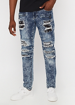 Supreme Flex Medium Acid Wash Bandana Moto Skinny Jeans