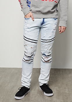 Flex Light Acid Wash Moto Zip Skinny Jeans