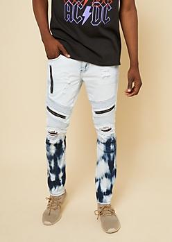 Flex Bleached Zipper Skinny Moto Jeans