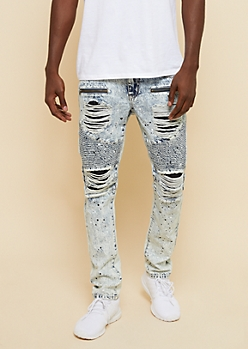 Light Acid Wash Paint Splatter Distressed Skinny Moto Jeans