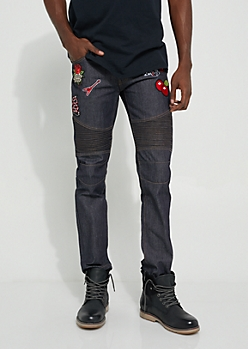 Slim Fit Patched Dark Wash Moto Jeans