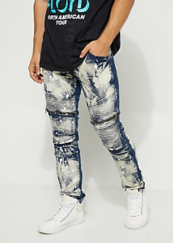 Acid Wash Paint Splatter Moto Skinny Jeans