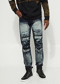 Distressed Acid Wash Slim Fit Jeans