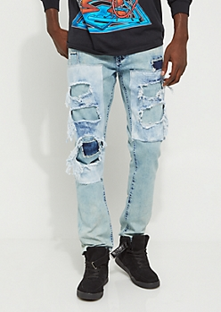 Light Blue Destroyed Layer Skinny Jeans