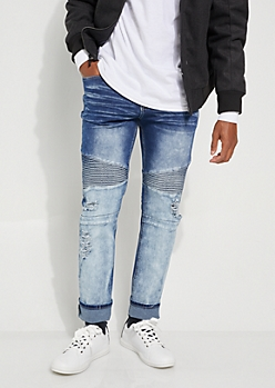 Dark Wash Two Tone Moto Skinny Jeans